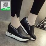 รองเท้าผ้าใบเสริมส้นสีดำ นำเข้า สไตล์เกาหลี (สีดำ )