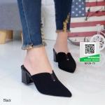 รองเท้าส้นตันสีดำ หัวแหลม (สีดำ )