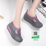 รองเท้าผ้าใบเสริมส้นสีเทาเข้ม น้ำหนักเบา Supportเท้า (สีเทาเข้ม )