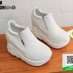 รองเท้าผ้าใบสวมเสริมส้น งานนำเข้า100% ST58-WHI [สีขาว]