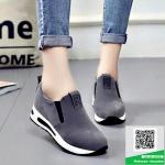 รองเท้าผ้าใบไร้เชือกสีเทา แนวสตรีท (สีเทา )