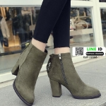 รองเท้าบูทส้นสูงหัวแหลมนำเข้า EJP-19508-GRN [สีเขียว]