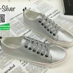 รองเท้าผ้าใบสีเงินเมทัลลิค สไตล์ Converse (สีเงินเมทัลลิค )