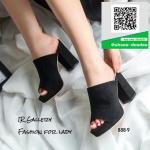 รองเท้าส้นตันเปิดส้นสีดำ หนังกลับ (สีดำ )