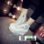รองเท้าผ้าใบหุ้มข้อนำเข้าเสริมส้น วัสดุผ้าแคนวาส YNB-6805-WHI [สีขาว]