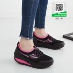 รองเท้าผ้าใบเสริมส้นสีดำ น้ำหนักเบา Supportเท้า (สีดำ )