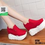 รองเท้าผ้าใบสวมเสริมส้น งานนำเข้า100% ST58-RED [สีแดง]