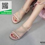 รองเท้าแตะรัดส้นสีชมพู แบบไขว้แต่งอะไหล่สวยงาม (สีขมพู )