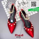 รองเท้าคัทชูส้นเตี้ยสีแดง หัวแหลม แต่งมุก (สีแดง )