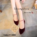 รองเท้าคัทชูส้นเตี้ยสีแดง หัวแหลม ผ้ากำมะหยี่ (สีแดง )