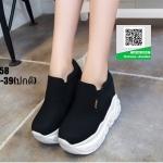 รองเท้าผ้าใบสวมเสริมส้น งานนำเข้า100% ST58-BLK [สีดำ]