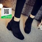 รองเท้าบูทสั้นหุ้มข้อสีดำ สไตล์เกาหลี (สีดำ )