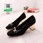 รองเท้าคัทชูหัวกลมสีดำ ส้นทอง (สีทอง )