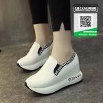 รองเท้าผ้าใบเสริมส้นสีขาว นำเข้า สไตล์เกาหลี (สีขาว )