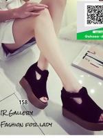 รองเท้าส้นเตารีดหุ้มส้นสีดำ เปิดหน้า (สีดำ )
