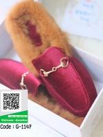 รองเท้าคัทชูส้นแบนสีแดง ทรงสลิปปเปอร์ (สีแดง )