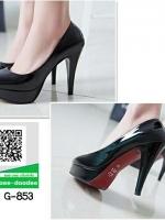 รองเท้าคัทชูส้นสูงสีดำ หัวกลม (สีดำ )