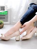 รองเท้าคัทชูหัวกลมสีครีม ส้นทอง (สีครีม )