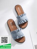 รองเท้าแตะแฟชั่นสีน้ำเงิน เปิดส้น แต่งขอบหยัก (สีน้ำเงิน )