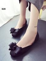 รองเท้าคัทชูส้นเตี้ย หัวตัด แต่งโบว์ (สีดำ )