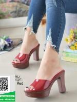 รองเท้าส้นสูงเปิดส้นสีแดง Muless Heels Shoes (สีแดง )