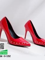 รองเท้าคัทชูส้นสูงสีแดง หัวแหลม แต่งหมุด (สีแดง )