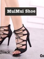 รองเท้าบูทส้นสูง แบบสาบรัด เซ็กซี่ (สีดำ )