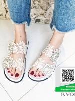 รองเท้าแตะผู้หญิงสีขาว ผ้าลูกไม้ (สีขาว )