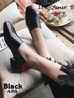 รองเท้าคัทชูแฟชั่นสีดำ หนังนิ่ม ใส่ทับส้นได้ (สีดำ )