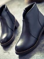 รองเท้าบู้ท ทรงสั้นหุ้มข้อหนังนิ่ม (สีดำ)