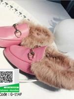 รองเท้าคัทชูส้นแบนสีชมพู ทรงสลิปปเปอร์ (สีชมพู )
