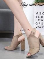 รองเท้าส้นตันรัดส้นสีครีม เปิดหน้า สไตล์เกาหลี (สีครีม )