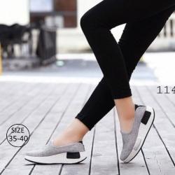 รองเท้าผ้าใบเสริมส้นสีเทา ผ้าแคนวาส พื้นสุขภาพ (สีเทา )