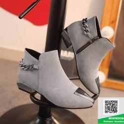 รองเท้าบู๊ทหุ้มข้อสีเทา หัวแหลม Style Korea (สีเทา )