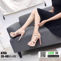 รองเท้าส้นสูง งานสไตล์ YSL หนังแก้ว K766-PNK [สีชมพู]