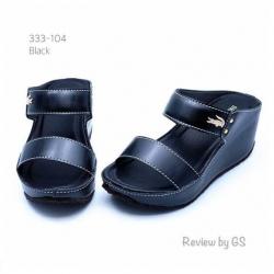 รองเท้าแตะส้นเตารีด สไตล์ลำลอง สายคาดสองตอน (สีดำ )