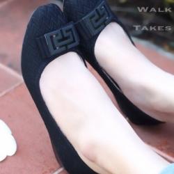 รองเท้าคัทชูส้นเตี้ย ผ้าทอลายในตัว (สีดำ )