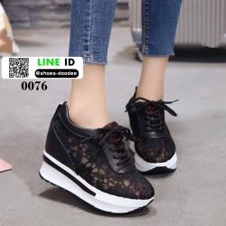 รองเท้านำเข้าสวยๆพร้อมเสริฟค่ะ แพลตฟอร์มเกาหลี 0076-P-ดำ [สีดำ]