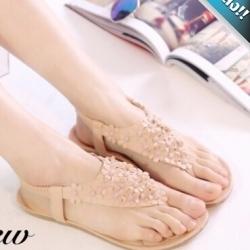 รองเท้าแตะผู้หญิงสีนู้ด ดอกเดซี่ แบบหนีบ มีสายรัดข้อเท้า สวมใส่สบาย น่ารักดูดีมีสไตล์ แฟชั่นเกาหลี แฟชั่นพร้อมส่ง