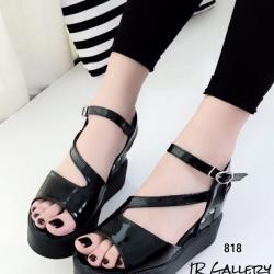 รองเท้าส้นเตารีด รัดส้น วัสดุหนังเงานิ่ม แต่งสายคาดเฉียง (สีดำ )