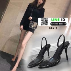 รองเท้าส้นเข็ม หมุดเงิน คาดใส 669-1-BLK [สีดำ]