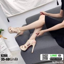 รองเท้าส้นสูง งานสไตล์ YSL หนังแก้ว K766-CRM [สีครีม]