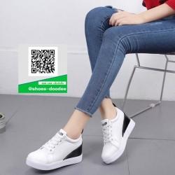 รองเท้าผ้าใบเสริมส้นสีขาว โลฟเฟอร์ สไตล์เกาหลี (สีดำ )