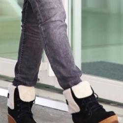 รองเท้าบูท เนื้อดีผ้าสักหลาด (สีดำ)