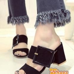 รองเท้าส้นสูงสีเทา แฟชั่นเกาหลีสไตล์ลำลองส้นหนาสูง 3 นิ้ว ดีไซน์เก๋ งานสวย งานเนี๊ยบใส่ทำงาน ขนาด+1