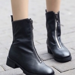 รองเท้าบูทหุ้มข้อ หนังนิ่ม (สีดำ)