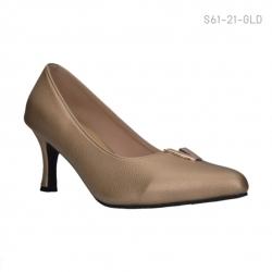 รองเท้าคัทชูส้นสูง หัวแหลม แต่งอักษรโลหะV (สีทอง )