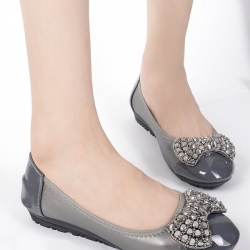 รองเท้าคัทชูส้นเตี้ย แต่งโบว์ (สีเทา)