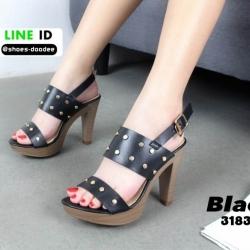 รองเท้าส้นสูงเสริมหน้า ส้น pu ลายไม้ 318311-BLK [สีดำ]