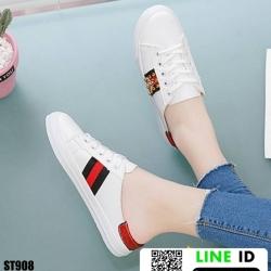 รองเท้าผ้าใบแบบสวมเปิดท้าย งานนำเข้า 100% ST908-RED [สีแดง]